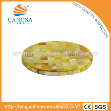CBM-CS03 Eco friendly Golden mother-of-pearl cup coaster