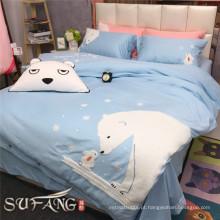 Congratulou-se com conjuntos de cama de luxo de algodão egípcio cor azul com capa de almofada