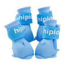 Cartoon Puppy Dog Shoes Set of 4 Waterproof Rain Boots Foot Cover Pet Silicone Rain Boots
