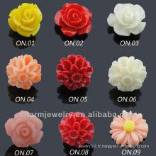 Boucles d'oreilles à fleurs en résine à la mode en acier chirurgical EF-007A
