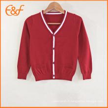 Les modèles tricotés de conception uniforme de pull de cardigan d'école tricotée par enfants pour des garçons
