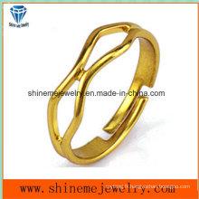 Bague à bijoux en or plaqué or en acier inoxydable à anneaux ouverts (SSR2772)
