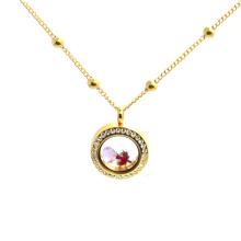 Bonito aço inoxidável flutuante medalhão novo ouro pescoço cadeia design meninas