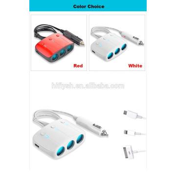 LY-0612 (106) Trending hot products 3 welly e 2 carregador de cigarro de carro tomada USB (CE Certificated)