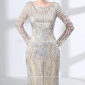 Heißer Verkauf 2018 Pailletten Abschlussball Kleid OEM Design Langarm muslim Abendkleid