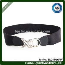 New Design Elegant Lady Wide Elastic Waistband .Women Black Alloy Buckle Belt For Dress