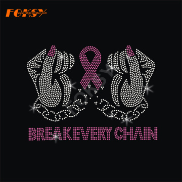 Breakevery Chain Pink Ribbon Heat Rhinestone Transfer