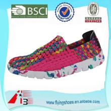 Mulheres da fábrica da porcelana mulheres tecidos weave sapatos, elástico cinto mão malha sapatos, handmade tecido sapatos elásticos
