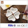 High quality ceramic 4pcs heart shape dish with bamboo tray
