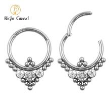 Ball Cluster Bezel Set Cubic Zircon Hinged Nose Ring body piercing