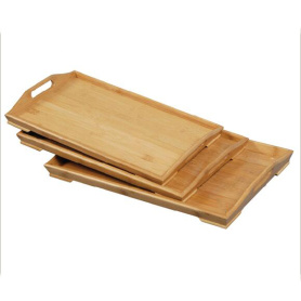 3pc Bamboo  Breakfast Serving Tray Party Platter