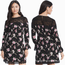 Long-Sleeve Floral Lace Shift Dress