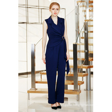 Solid Long Wrap Front Jumpsuit with Metal Ring Buckle and Lapels