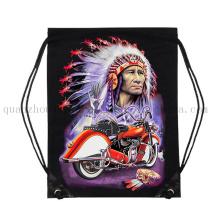 Custom 3D Print Cotton Sport Drawstring Bag for Promotion