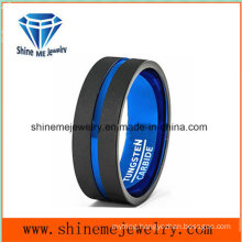 Blue Inside Black Outside Matte Tungsten Ring jewelry