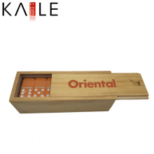 Fashion Design Orange Domino with White Dots in Wooden Box