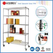 5 gradas de almacenamiento de rack de grado comercial, estanterías de metal de estantería