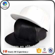 Fashion Men Stylish Plain Leather Snapback Cap