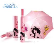 La boda de encargo de la publicidad devuelve regalar el artículo del regalo La sombrilla de la forma de la botella de vino paraguas promocionales con la impresión del logotipo