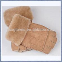 Custom Half Finger Wool Lined Fur Gloves For Women