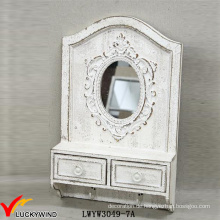 2 Schubladen 2 Haken Massivholz Retro Weiß Rustikaler Spiegel mit Regal