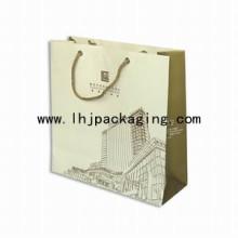 Bolsa de papel recubierto de impresión de dos lados de alta calidad con mango de cuerda