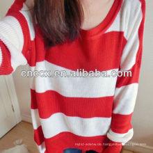 12STC0714 Damen rot und weiß gestreiften Pullover