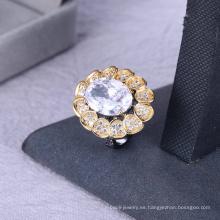 Anillo de mujer de gran calidad negro anillo plateado blanco anillo de piedra grande