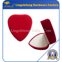 Velvet Material Red Heart Shape Ring Box