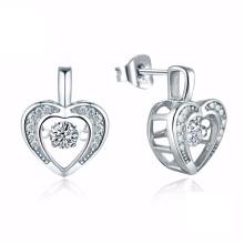 Hot Sales Heart 925 Boucles d'oreilles en argent Bijoux de danse
