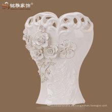 jarrón de porcelana de decoración interior para interiores en color blanco para la pieza central de la boda
