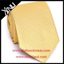 Hochwertige handgefertigte chinesische Krawatte Hersteller Seide gewebt Skinny Gold Tie