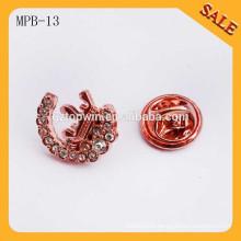 MPB13 Hot sale new fashion metal bow tie rhinestone brooch badge