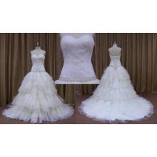 Vestido de noiva nupcial plissado com faixa frisada