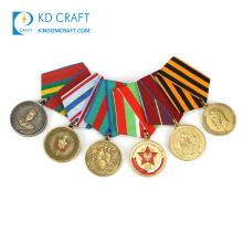 High quality personalized metal zinc alloy custom award fantasy enamel military medal honor with short ribbon