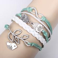 Moda pulseira de infinito sorte aves pulseiras de infinito coruja duplo bracelete de metal vintage mão-tecidos por atacado olive branch