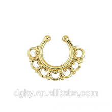 Gold Tribal Fan Fake Septum Ring Hanger Nez tribal Laiton