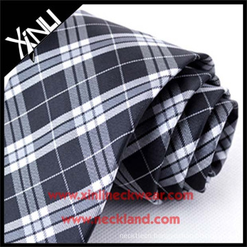 Dry-clean Only Jacquard Woven Silk Neck Tie Plaid Fabric Black and White