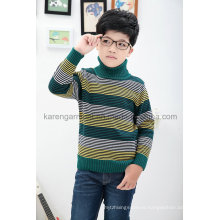 Turtleneck Fashion Striped Ribbed Children Wool Sweater