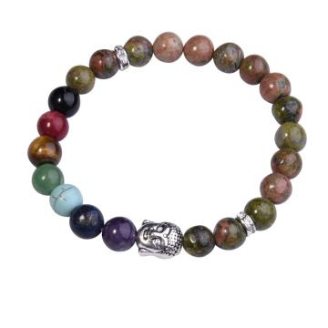 Unakite Bracelet Buddha 7 Chakra Gemstone Alloy Beads Jewelry Bangle