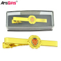 Metal plated gold bow tie cliptie bar tie pin with carbon fiber