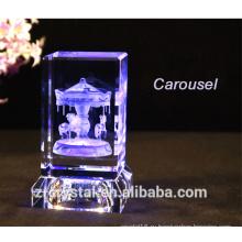 Новые 3d лазерный кристалл Карусель кристалл Эйфелева башня кристалл Роуз кристалл торт кристалл Cartoon мыши и т.д. с базой привело кристалл