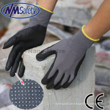 Nmsafety Nylon und Spandex beschichtete Schaumstoff Nitril Arbeitshandschuhe mit Punkten auf Palm