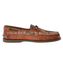 Brown Fashion Letter Man Leather Boat Shoes