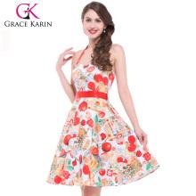 Grace Karin Stock Black Halter Cotton Bandage Vintage Dress CL4595-3#