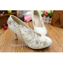 Vestido nupcial de lujo con los zapatos cristalinos blancos de la cena del diamante para los zapatos WS008 de las mujeres