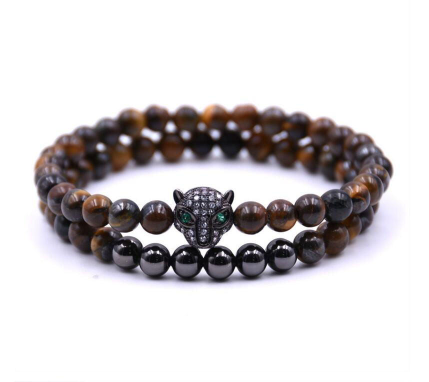 Fashion Leopard Bracelet With 6MM Beads Bracelet For Men Jewelry