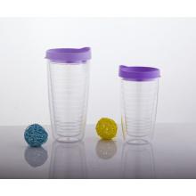 400ml Plastikkaffeetasse, doppelwandiger Plastikbecher, Plastikkaffeetasse mit Deckel