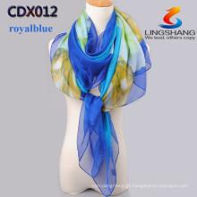 2015 novo chegam o lenço de seda multicolor dos cachecóis do chiffon do veludo da forma de China imprimiu o cabo longo do xale da qualidade dos scarves