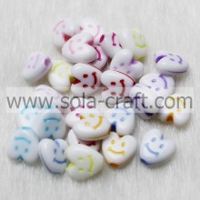 3.5*7*7.5MM Smiled Wash Colorful Bracelet Heart Charm Beads Pattern